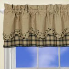 Primitive Swag Curtains New Country Cabin Lodge Chocolate Brown Black Plaid
