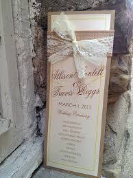burlap wedding programs items similar to burlap and lace wedding program on etsy