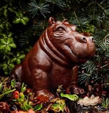cast iron mini happy hippo garden statue hippopotamus ornament
