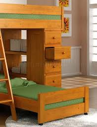 Solid Pine Furniture Honey Finish Solid Pine Contemporary Loft Bed With Desk