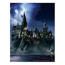 harry potter castle moonlit hogwarts postcard zazzle com