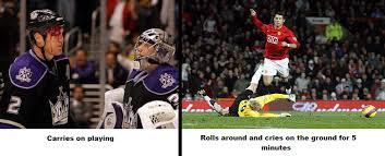 Soccer Hockey Meme - hockey vs soccer toughness vs embellishment monday morning