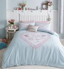 Shabby Chic Blue Bedding by Details About Duck Egg Blue Heart Panel Shabby Chic Duvet Cover