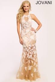 jovani 24283 prom dress lace tulle floral halter neck sheer skirt