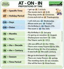 prepositions of time at on in learn english pinterest