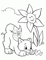 funny cat and spring coloring page for kids seasons coloring