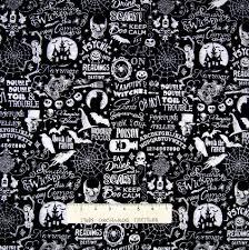halloween fabric raven skulls ouija word black white timeless