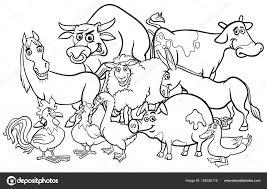 cartoon farm animals coloring book u2014 stock vector izakowski