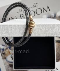 gold clasp leather bracelet images Pandora genuine 14ct gold clasp grey double braided leather jpg