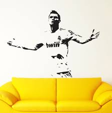 soccer wall decal etsy real madrid decal cristiano ronaldo wall sticker footballer soccer art poster