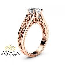 moissanite vintage engagement rings gold moissanite engagement ring milgrain moissanite ring