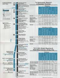 hudson light rail schedule timetable n j transit announcement timetable for hoboken station
