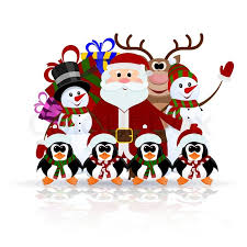 greeting christmas card santa claus reindeer snowman