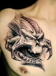 angry scary predator tattoo design make on men u0027s chest