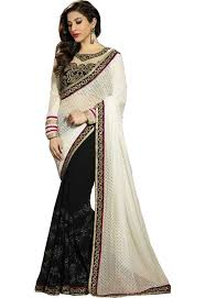 blousing rubbers white black rubber print and 60 gram half half saree with blouse work