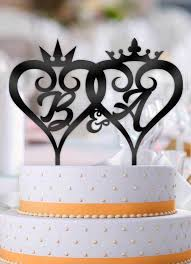 wedding cake toppers initials personalized curly hearts crowns with initials wedding cake topper