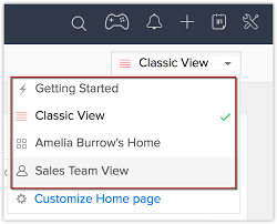 customize home home tab online help zoho crm