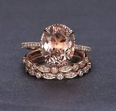 fashion gem rings images Oval morganite engagement ring trio bridal set jpg