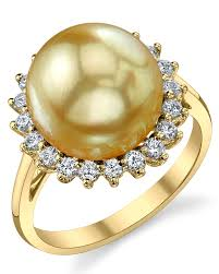 gold pearl rings images Golden pearl diamond sage ring jpg