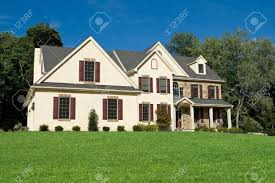 colonial style new colonial style single family house suburban philadelphia stock