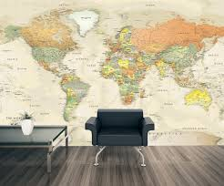 World Map Of Continents And Oceans To Label by Detailed Antique Oceans World Political Map Mural