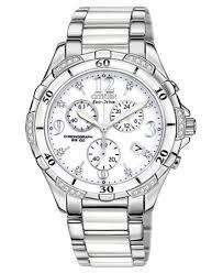white ceramic bracelet images Citizen women 39 s chronograph eco drive diamond accent stainless tif