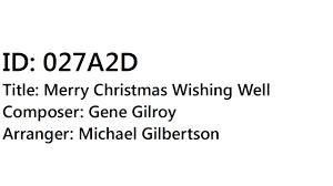 gene gilroy merry wishing well arr michael