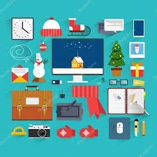 New Year Decoration Office by Christmas Eve Creative Workplace Concept Christmas And New Year