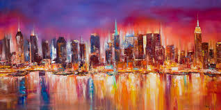 new york city painting vibrant new york city skyline by manit