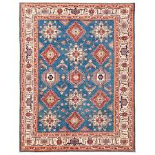 9 X 11 Area Rug Luxurious Pasargad Knotted Tribal Kazak Blue Ivory Wool Area