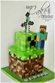 minecraft cake with character creeper decoration and sword