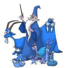 great blue wizard mascot
