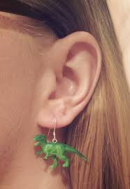 t rex earrings i bought a handful of tiny rubber dinosaurs and made me some tiny