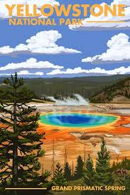 Wyoming travel posters images Yellowstone national park grand prismatic spring jpg