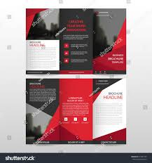 red triangle business trifold leaflet brochure stock vector