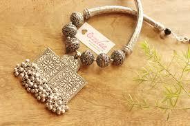 handmade designer jewellery statement ethnic silver tone handmade designer necklace set online