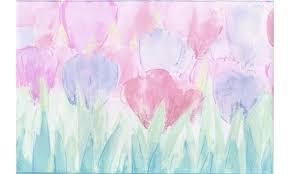 Chair Rail Wallpaper Border - blue pink tulips wallpaper border