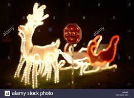 illuminated light decorations with santa stop sign