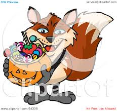 royalty free rf clipart illustration of a trick or treating fox