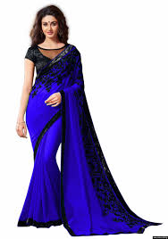 georgette royal blue colour embroidey lace border workdesigner saree