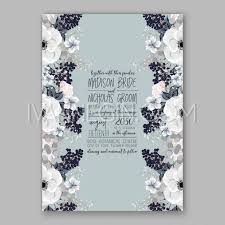 anemone wedding invitation card template floral bridal wreath