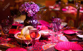elegant colorful dinner table setting stock photo picture and