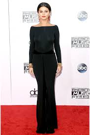 gomez 2014 american music awards long sleeve backless prom dress