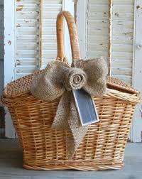 vintage basket rustic wedding farmhouse decor burlap rose