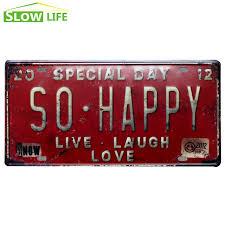 si e voiture journée spéciale si heureux voiture licence plaque vintage décor à