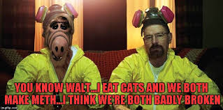 Funny Breaking Bad Memes - a breaking bad alf crossover would ve been hilarious imgflip
