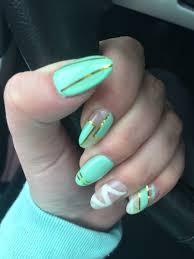gel nails mint white gold almond cute summer gel nail ideas