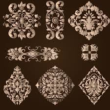 ornamental floral damask elements vector material 05 vector