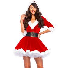 Hooded Halloween Costumes Claus Velvet Hooded Christmas Dress Holiday Dress