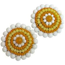 clip on earrings s 1960 s miriam haskell op pop beaded earrings for sale at 1stdibs